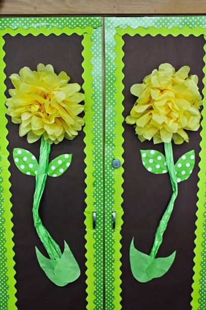 Poms on classroom closet doors ~ love!: Decor Ideas, Closet Doors, Classroom Decor, Classroom Door, Bulletin Boards, Paper Flowers, Classroom Ideas, Cool Classroom, Cabinets Doors
