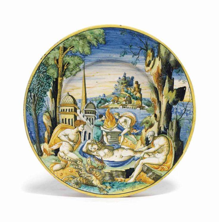 A DUCHY OF URBINO MAIOLICA ISTORIATO DISH CIRCA 1540-50