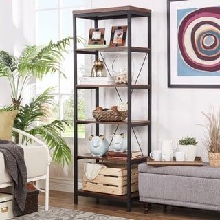 Shop for Somme Rustic Metal Frame 6-tier Bookshelf Media Tower by iNSPIRE Q Classic. Get free shipping at Overstock.com - Your Online Furniture Outlet Store! Get 5% in rewards with Club O! - 17494106