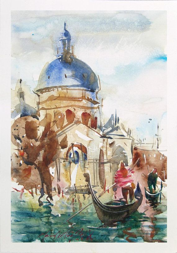 Basilica In Venice 2018 Original Watercolour Painting Saint Mary
