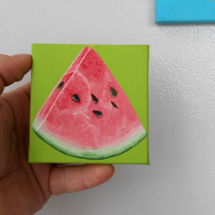Watermelon Painting, Miniature Painting, Lime Green and Pink Kitchen Art, Kitchen Decor, Canvas Painting, Paintings of Fruit, Original Art by Mae2Designs on Etsy