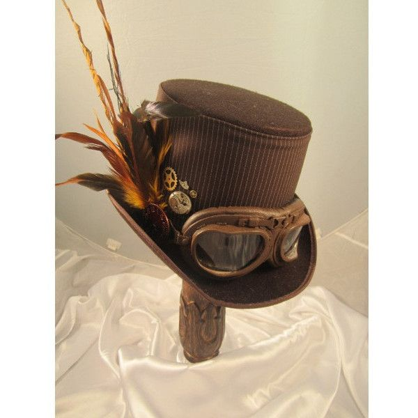 STEAMPUNK TOP HATS, Steampunk Store, brown, felt, aviator goggles,... ($99) ❤ liked on Polyvore featuring hats