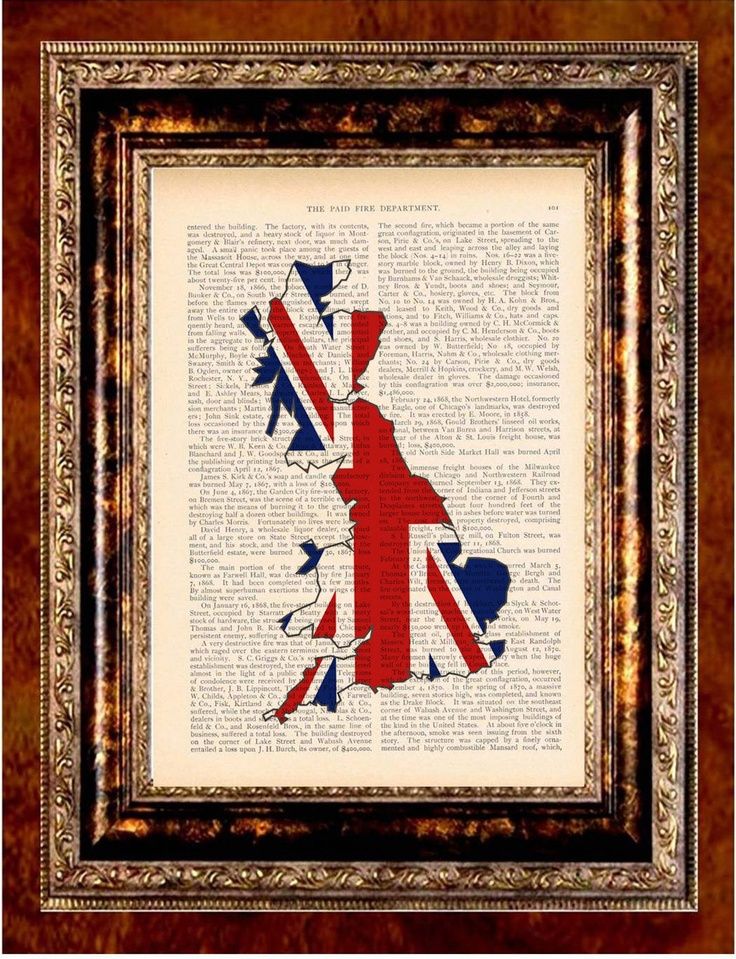 British UNION JACK MAP Color Art Print Antique by newdayprints    map tattoo???