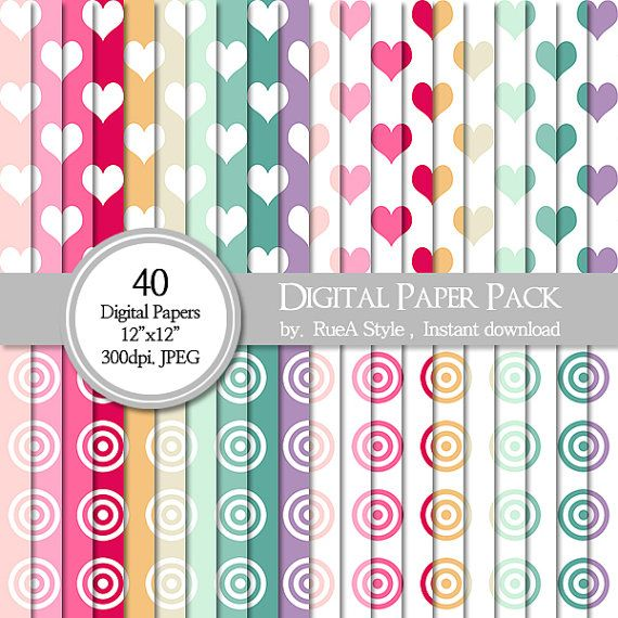 SALE 40 Digital Paper Pack heart Design circle Design by rueastyle