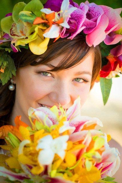 """Corona di fiori, fiori di seta """"Real Touch"""", capelli nuziali pezzo, copricapo tropicale, fiori hawaiani, sposa accessori, accessorio dei capelli personalizzato"""
