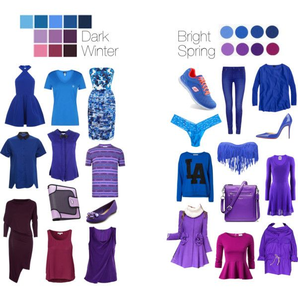 Dark Winter vs Bright Spring - Blues and Purples by thewildpapillon on Polyvore featuring Prabal Gurung, M Missoni, AQ/AQ, J.Crew, Ostwald Helgason, Armani Jeans, Vero Moda, VILA, Kenzo and Lola