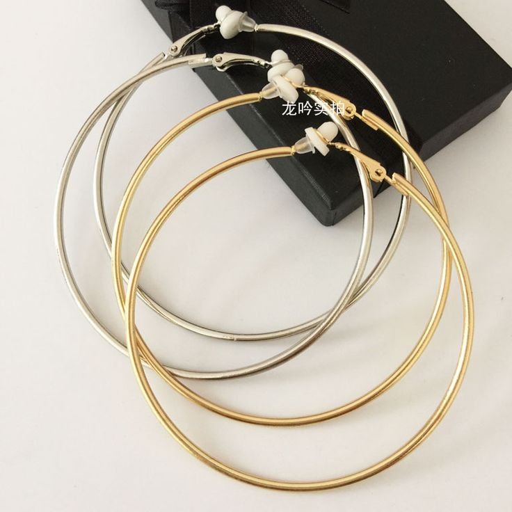 No pierced fashion big circle clip on earrings  the round earring female with cushion pad