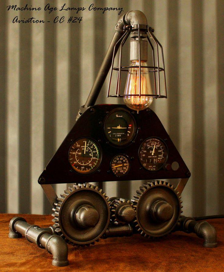 Steampunk Lamp, Vintage Airplane Dash Avionics Instrument panel #CC24
