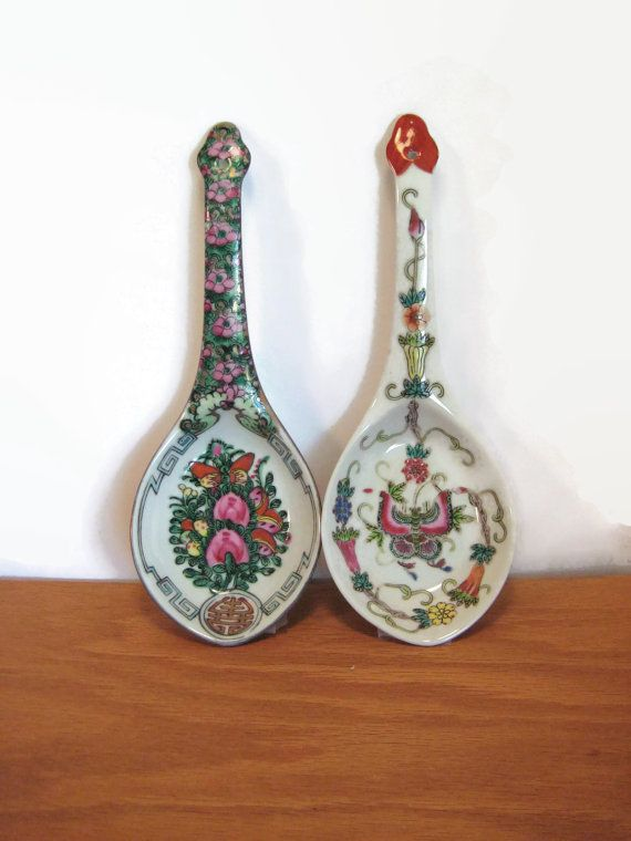 Vintage Asian Serving Spoons Hand Painted by PSSimplyVintage