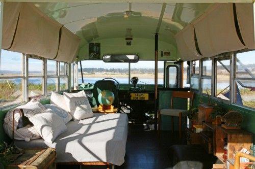 Design Sponge Sneak Peek - a school bus turned camper