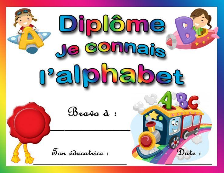 diplôme Je connais l'alphabet