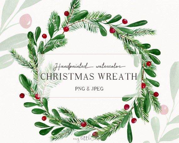 Christmas Watercolor Wreath Clipart Winter Clip Art Winter Digital Download Wreath Png Christmas Decoration Digital Download W43 Wreath Watercolor Christmas Watercolor Wreath Clip Art