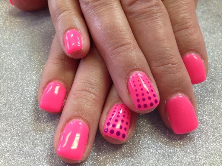 Gel Nails Colour Neon Pink Violet Polka