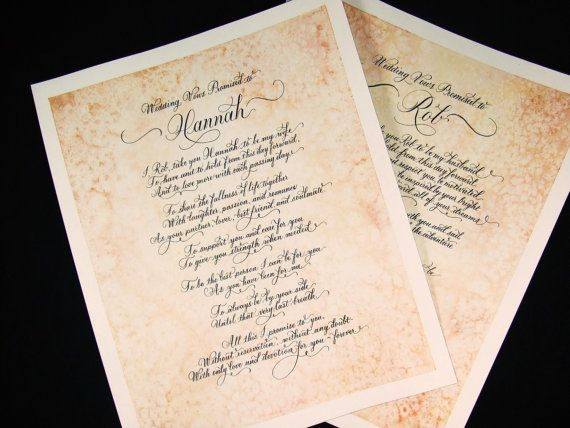 30 best wedding vows cal images on pinterest happy wedding calligraphy and made to order custom art also for dance song lyrics love poetry stopboris Images