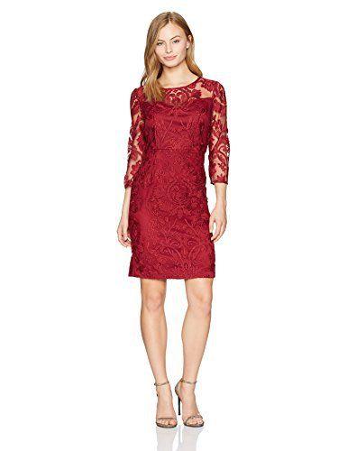 71cb6d3a38e Alex Evenings Women s Petite Short Embroidered Dress with Illusion  Neckline