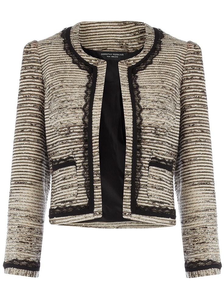 Cream lace tipped jacket at Dorothy Perkins. We love the hint of classic Chanel style :)