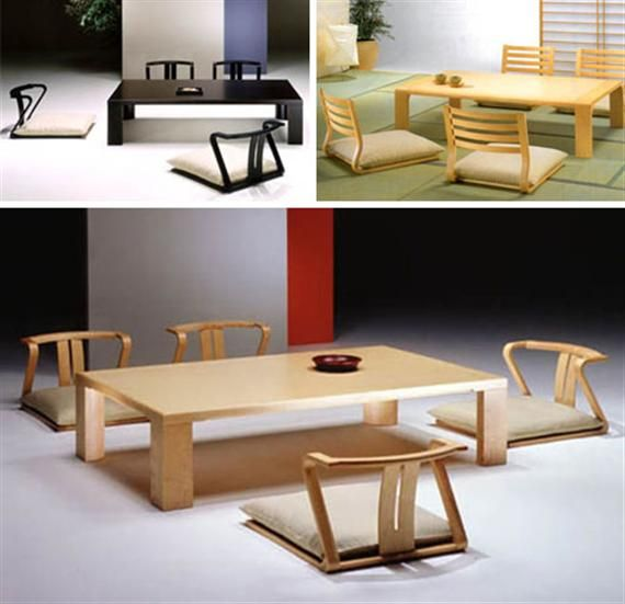 Japanese Floor Seating Table And Dining Set With Cushions