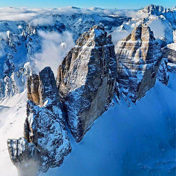 Tre Cime di Lavaredo from Sky #auronzomisurina #trecimedilavaredo