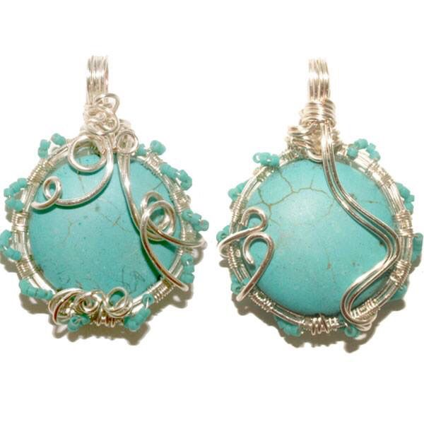 Wire Weaved Turquoise front & Back