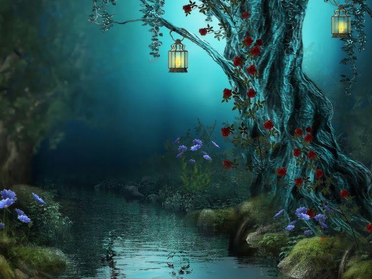 Paisaje fantástico con río, flores y linternas en el bosque ...
