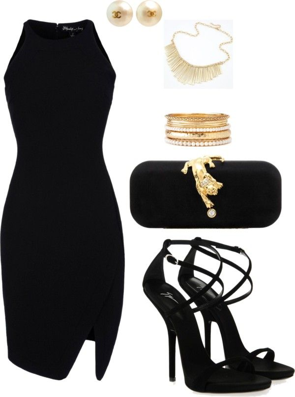 Black and gold! by lynncas on Polyvore Issues and Inspiration on http://fancytemple.com/blog Womens Fashion Follow this amazing boards and enjoy http://pinterest.com/ifancytemple