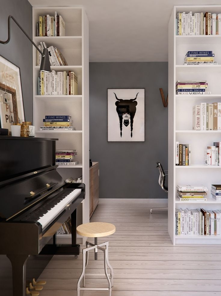 <p>Russian architecture firm INT2 decked out this apartment in a clean but not exactly minimalist aesthetic. Scandinavian armchairs and tables play off the neat feel of the sparkling bleached wood floors, dusty blue accent walls and whitewashed roof beams, while splashes of candy orange and red turn up in carpets, lamps and even the twee…</p>