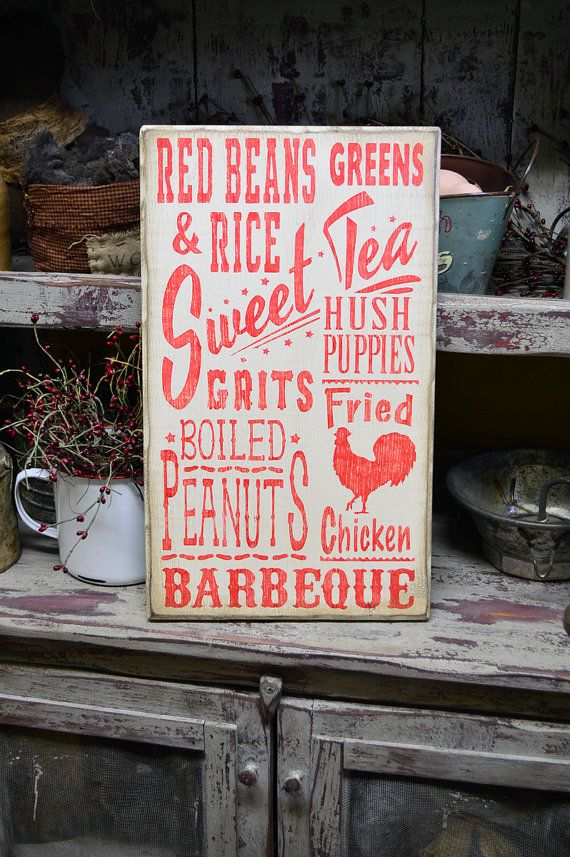 Southern Subway Sign Red & White by BishopsHollow on Etsy - southern cooking, sweet tea, typography