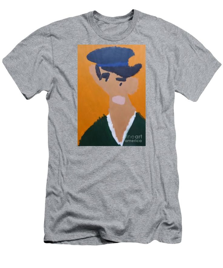 Patrick Slim Fit T-Shirt featuring the painting Young Man With A Hat 2014 - After Vincent Van Gogh by Patrick Francis