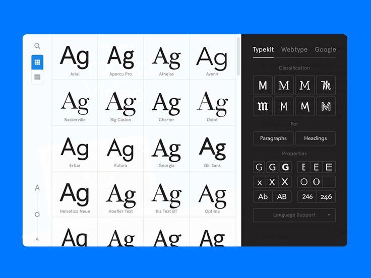 Font Explorer & Font Picker Interface | Desktop User Interface Design