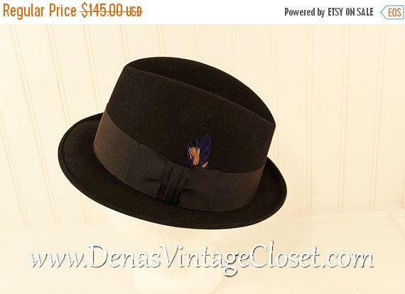 50% OFF SALE Vintage Black Felt Royal Stetson Fedora Hat Men's SZ 7 Blue Feather