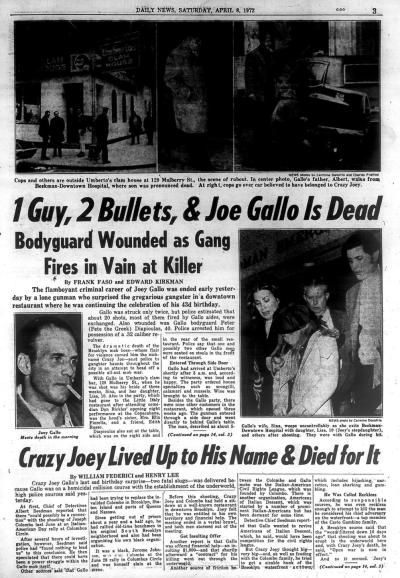 New York Daily News coverage of Joey Gallo case from April 8, 1972.