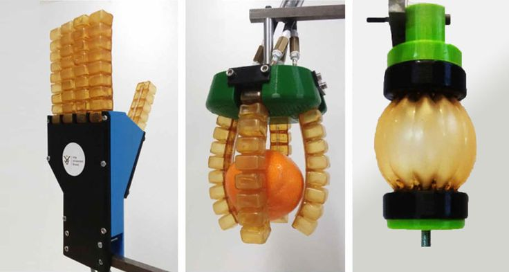 SOFT BOT SQUAD  Using an elastic, self-healing material, researchers created (from left to right) a robotic hand, gripper and muscle. ~~ S. Terryn et al/Science Robotics 2017