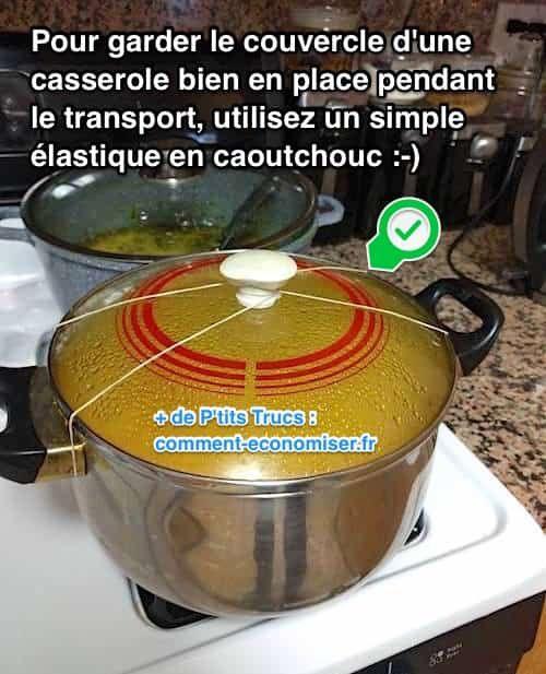 Besoin de transporter une casserole pleine sans en mettre partout ? L'astuce est d'accrocher le couvercle avec un simple élastique en caoutchouc. Regardez :-)  Découvrez l'astuce ici : http://www.comment-economiser.fr/garder-couvercle-casserole-bien-fermee-quand-on-transporte.html?utm_content=bufferb35e6&utm_medium=social&utm_source=pinterest.com&utm_campaign=buffer