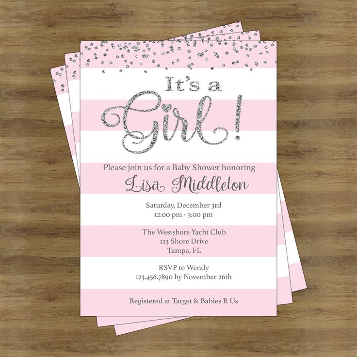 Its a Girl Baby Shower Invitation Girl; Baby Shower Invitation for a Girl; Pink and Silver Baby Shower Invites; Silver and Pink Invitations by SophisticatedSwan on Etsy