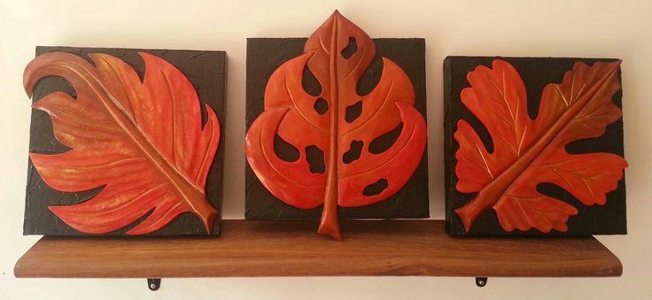 Triptico de hojas talladas en MDF, pintadas con acrílicos