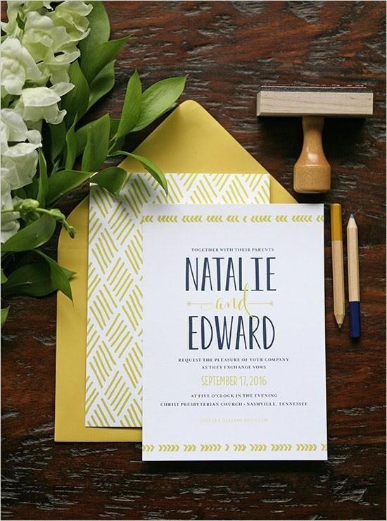 Mustard yellow and navy modern wedding invitation.