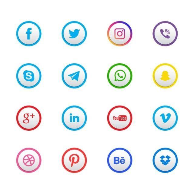 الاجتماعية الأيقونات وسائل الإعلام صور المتجهات مع المواد Png Social Media Icons Free Social Media Icons Logo Design Free Templates