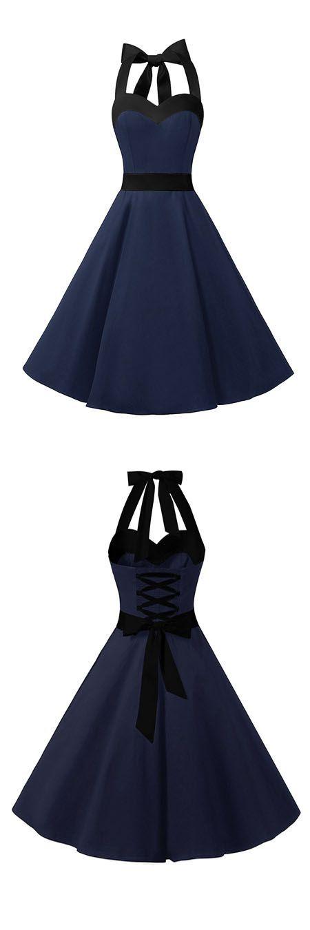 fashion vintage style dress,rockabilly dress,halter dress,retro dress,swing dress