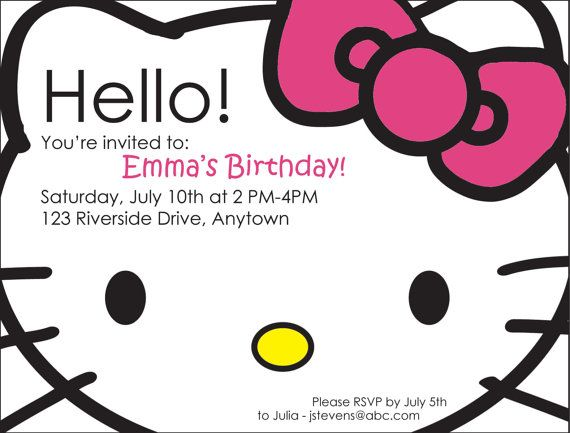 162 best hello kitty party images on pinterest | hello kitty, Invitation templates
