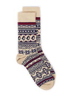 Oat Fairisle Pattern Penguin Christmas Socks
