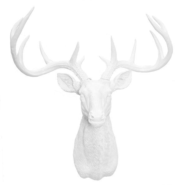 t te de cerf blanche lustr e 25x24 5x37 39 39 c 39 est un bel object d co contemporain pour orner vos. Black Bedroom Furniture Sets. Home Design Ideas