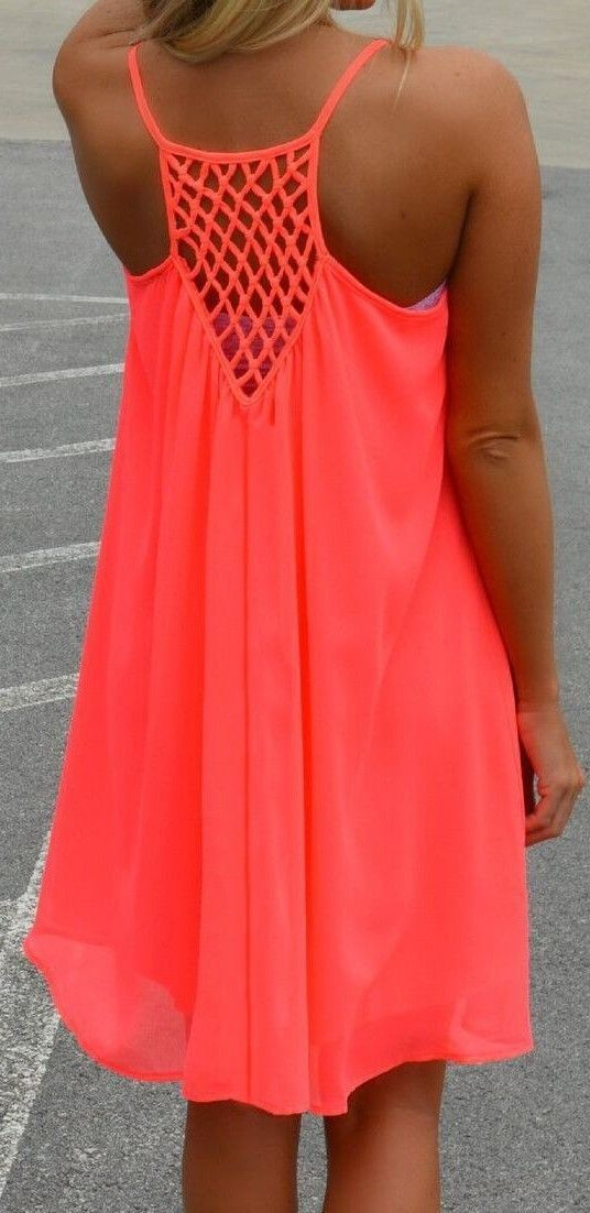 #spring #neon #trend #outfitideas  Spaghetti Strap Hollow Shift Neon Red Braces Sun Slip Dress