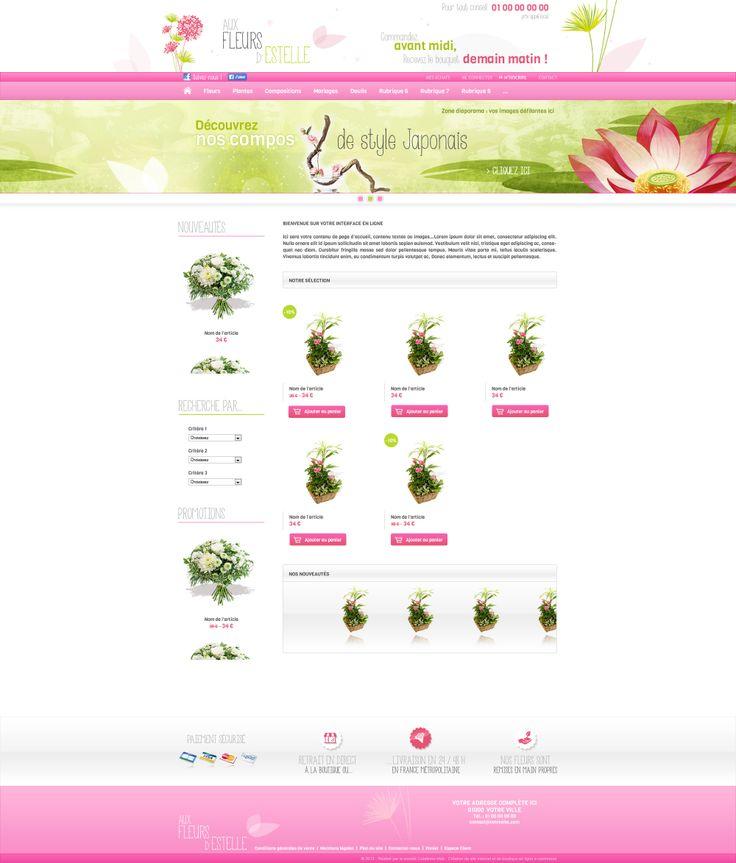 Maquette site Aux fleurs d'Estelle - creer site internet pour vente fleurs, bouquets en ligne