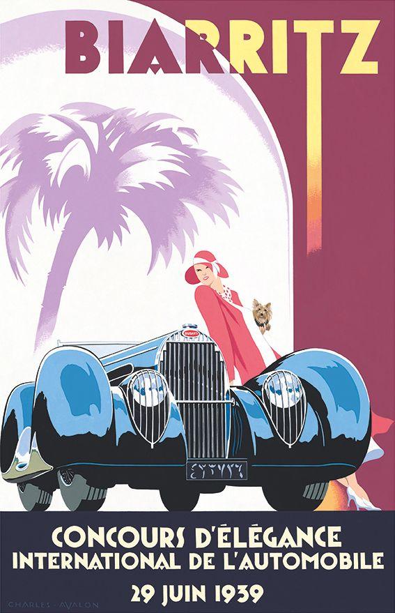 PEL404: 'Bugatti Atalante Type 57C – Biarritz Concours d'Elégance' by Charles Avalon - Vintage car posters - Art Deco - Pullman Editions - Bugatti