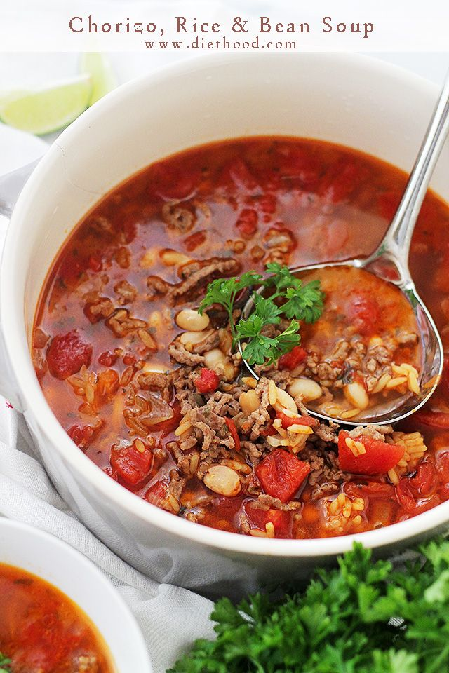 Chorizo, Rice and Bean Soup - Spicy chorizo sausage adds amazing flavor to this easy, warm and comforting Bean Soup.