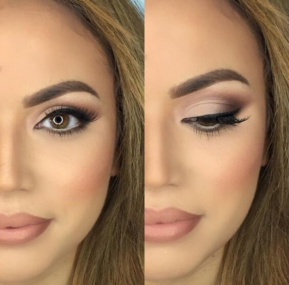 Pink and purple eyeshadow look with a defined outer V