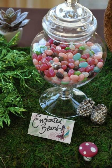 Pretty candy jars at a Tinkerbell & Fairies Birthday Party!  See more party ideas at CatchMyParty.com!