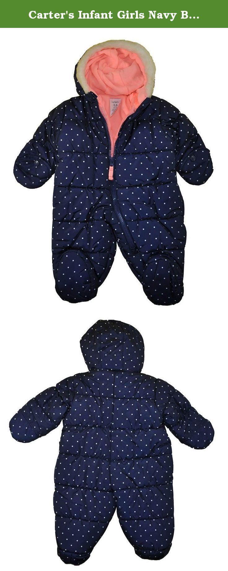 Carter's Infant Girls Navy Blue Polka Dot Pram (6/9M). Carter's infant girls pram with some fleece lining, zipper closure and polka dot print print. Faux fur hhod trim and hideaway mittens.