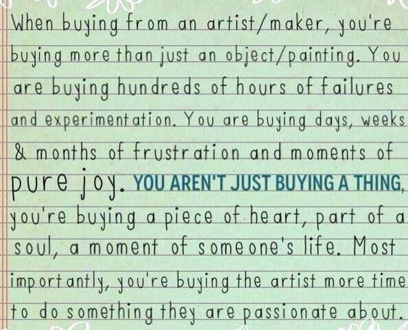 One of the many reasons why I try to buy as much as I can from artisans on Etsy <3 <3 <3