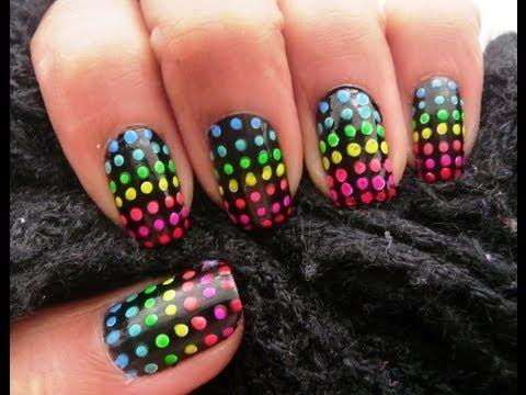 Tutorial decoracion de uñas facil (Bolitas en degrade) - YouTube